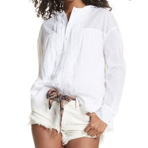 Free People White Button Up Hooded Long Sleeve Top